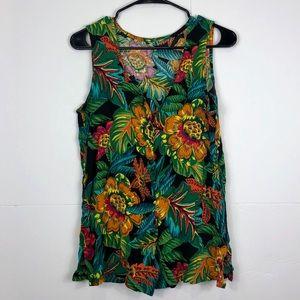 3/$30 Tropical Print Button Down Vest Sz M